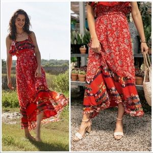 Anthropologie Zuri Red Maxi dress NEW WITH TAGS L